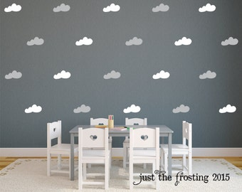 Cloud Wall Decals - Set of 40 Pattern Cloud Decals - Cloud Decals