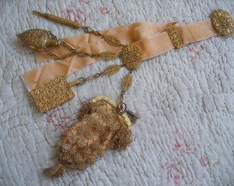 Antique chatelaine with Regency netted purse, scent bottle, aide memoire, pencil