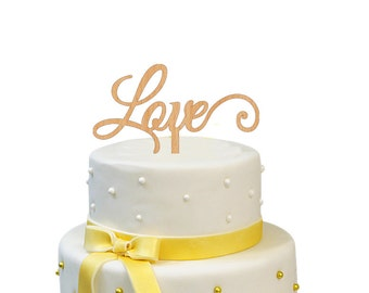 LOVE Cake Topper Wooden Rustic Wedding Topper Wood Wedding Cake Topper