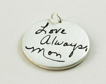 Actual handwriting silver memorial jewelry larger size pendant
