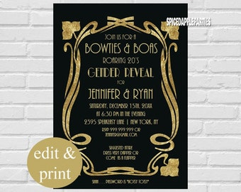 Christmas party cookie exchange cookie swap christmas gender reveal roaring 20s bowties boas party invitation instant download edit with acrobrat solutioingenieria Image collections