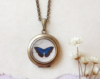 Blue Butterfly Round Locket - Vintage Illustration Brass Locket Necklace - Cobalt Blue Papillon