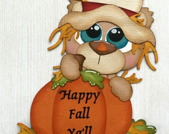 Happy Fall Scarecrow Bear