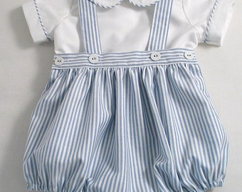 Blue Striped Oxford Romper-suit set.