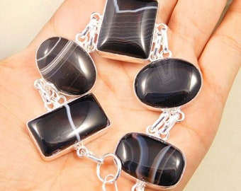 Awesome Designer .925 Silver Plated Banded Botswana Agate Gemstones Handmade Chain Linked Bracelate Jewellery