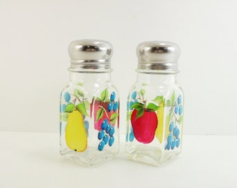 Salt Pepper Shakers Hand Painted Fruit Apple Pear Blueberries