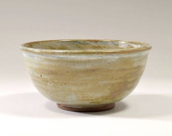 Shino Noodle Bowl with blue glaze wash by Fire Garden Pottery. Stoneware pottery, 20 ounces.