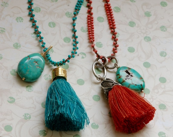 Boho Tassel Necklace with Turquoise drop - 34 inch necklace