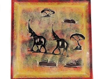 Stone Plate Kisii Elephants Square Kenya Africa 10 Inch 103291