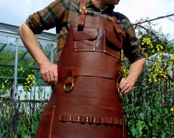 Leather Apron Woodworker's Super Deluxe Pockets with Brass Rings