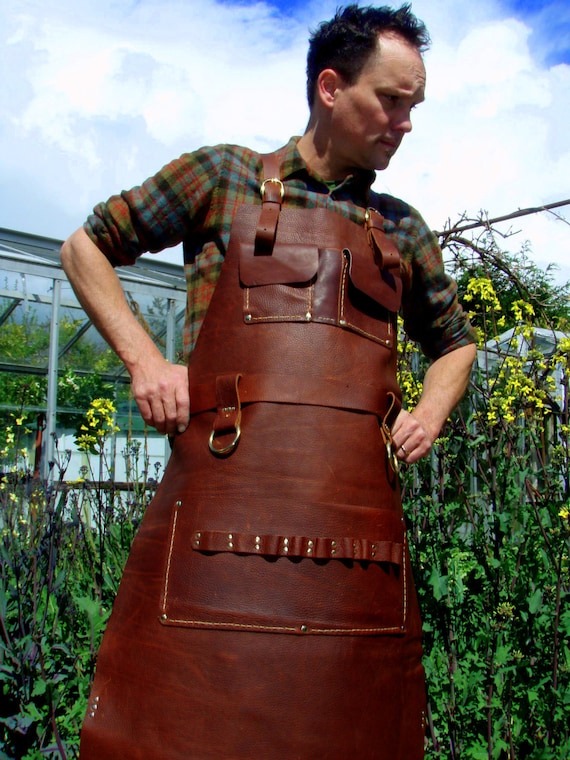 Super Leather Apron Woodworker's Super Deluxe Pockets with Brass UU46