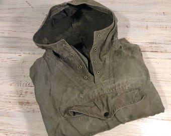 Vintage 60's Canvas Sweatshirt Anorak Camping Parka Hiking Anorak with hood and pocket