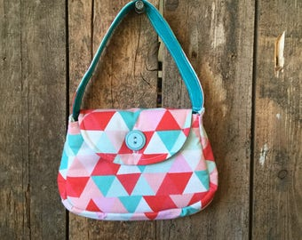 Girls Fabric Purse with Button, Triangles, Wallet sold separately