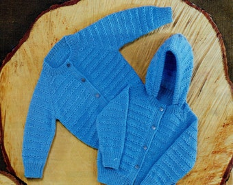 Babies Jacket, With or Without Hood Vintage Knitting Pattern, PDF, Digital Download
