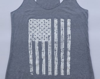 American Flag Tank Top - Fourth of July.  Womens Racerback, Exercise Gym Tank, Yoga Tank top