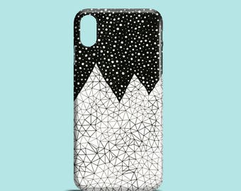 Day and Night mobile phone case, iPhone X, iPhone 8, iPhone 7, 7 Plus, iPhone 6S iPhone 6, iPhone 5/5S/SE, monochrome mountain phone case