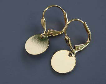 Gold Dot Earrings - Drop  Earrings - Minimalist - Dangle Earrings - Disc Earrings - Everyday Earrings - Leverback Earrings - Casual Earrings