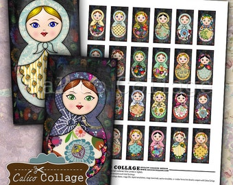 Nesting Dolls, Digital Collage, Domino Collage Sheet, 1x2 Inch Images, Printable Download, Babushka, Matryoshka, Russian Nesting Doll