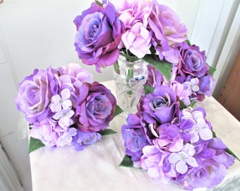 Purple Rose Bridesmaids Wedding Flowers Bouquet, Purple Rose And Purple Hydrangea Wedding Flower Bouquets
