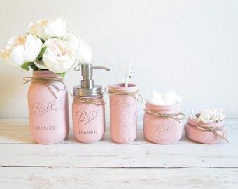 Mason Jar Bathroom Set - Pink Bathroom Set - Painted Mason Jars - Mason Jar Decor - Country Chic Bathroom Decor