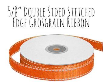 """Orange Ribbon with Stitched Edge, Orange Grosgrain Ribbon, 5/8"""" Ribbon, Orange and White Ribbon, Gift Ribbon, Wedding Supply, Hair Ribbon"""