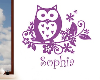Personalised Owl with Decorative Flowers Girls Name - Childrens Wall Sticker - Art Vinyl Decal Transfer - by Rubybloom Designs