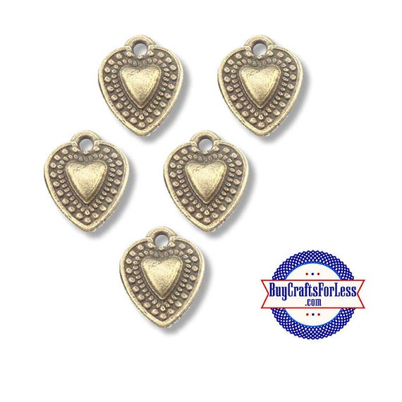 Mini HEART Charms, Bronze, 20 pcs  **99cent Shipping-FREE with orders 10 dollars+**