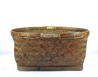 Vintage  Basket Herringbone Pattern