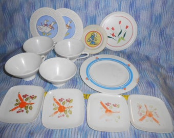 Vintage Plastic Child's Dishes - Plates and Cups