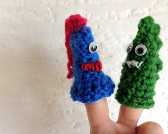 Finger Puppets | Crochet | Crochet Finger Puppets | Handmade | Finger Animals | Dinosaurs | Animals | Googly Eyes | Finger Dinosaur