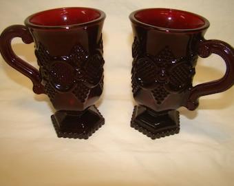 Lovely Vintage Avon 1876 Ruby Red Cape 2 Pedestal Mugs