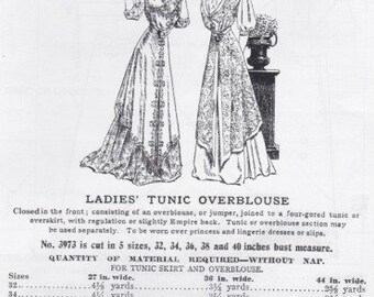 PP3973 - Past Patterns #3973, 1908 Ladies' Tunic Overblouse Sewing Pattern