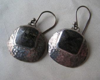 Modern Brown Mica Sterling Earrings Pierced Wire Silver Vintage 925 Dangle Hammered Mod