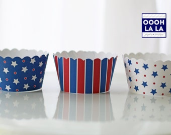 MADE TO ORDER Red, White and Blue- Stars Over You Cupcake Wrappers- Set of 12