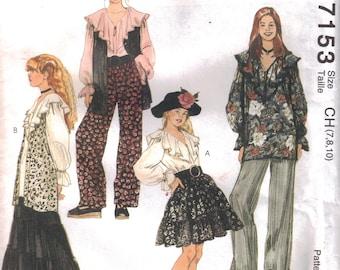 Girls Vest Pattern Girls Boho Skirt Pattern  Girls Size 7 - 8 - 10 Uncut  McCalls 7153 Broomstick Skirt Pattern