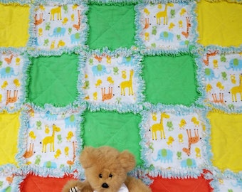 Blue, yellow, green and orange rag quilt lovey / security blanket for baby