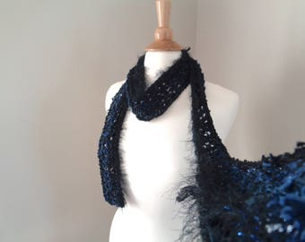 Skinny Art Scarf, Navy Blue & Black, Mixed Texture Designer Scarf, Thin Accent Scarf for Summer, Women Teen Girls, Hand Knit Scarf