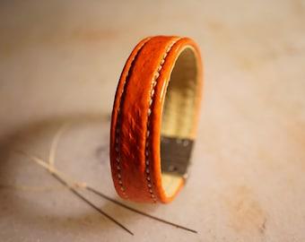 Polished Salmon leather bracelet