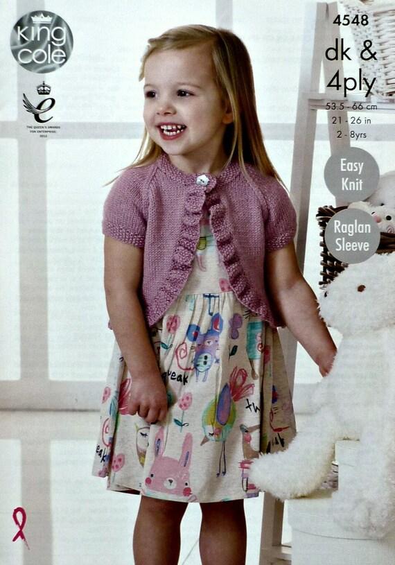 Girls Knitting Pattern K4548 Girls Easy Knit Short Sleeve Round Neck ...