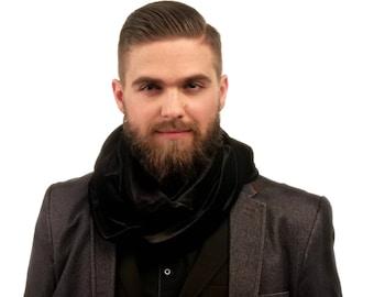 Loop scarf / black velvet Scarf / mens scarf / Velvet Infinity Scarf / velvet scarf / fabric scarves / gift for him
