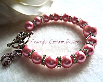 Beautiful Breast Cancer Awareness Bracelet - CUSTOM MADE