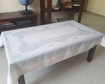 White and bue linen tablecloth, tablecloth rectangle, soviet linen tablecloth, 145 cm x 95 cm, flax tablecloth, rustic table cloth