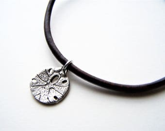 Leather Sand Dollar Charm Ankle Bracelet, Petite to Plus Size Anklet