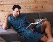 Linen bathrobe. Natural linen robe. Homewear. Natural bathrobe. Gown for men. Mens linen robe. Dressing gown. Gift for him. Mens bathrobe