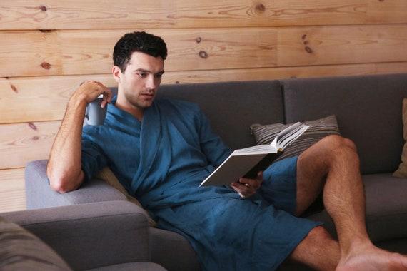 linen him linen for gown bathrobe bathrobe Linen Mens Homewear robe Dressing Natural Gift Gown Natural bathrobe robe men for Mens qEgTP