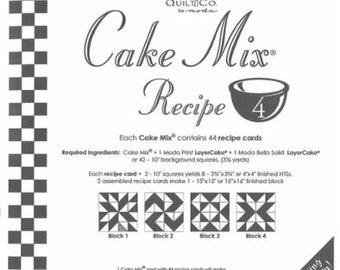 Moda Cake Mix Recipe 4--Foundation Piecing Pattern Pack--Quilt Pattern--Paper Piecing--Easy Half Square Triangles--CM4 Miss Rosie