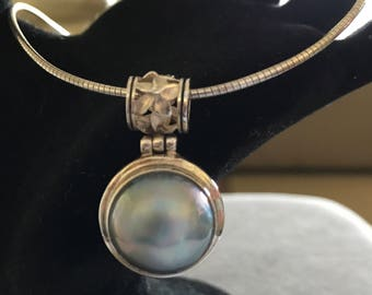 Sterling Plumeria Blue Mabe Pearl Pendant Necklace