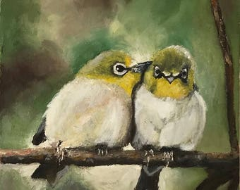 Lovebirds is an original oil painting hand painted by myself.