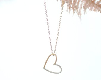 Open Heart Necklace - Valentine Necklace Gift - Mixed Metal Heart Frame - Sweetheart Gift - Valentine's Day - Valentine Gift - Silver Gold