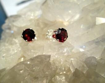 Dark Red Garnet Post Earrings ~Sterling Silver~ 6mm Round